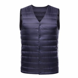 Image 3 - 2019 New Fashion Ultra Light Down Vest Men Spring Autumn Sleeveless Collarless Vest Male Casual Winter White Duck Down Waistcoat