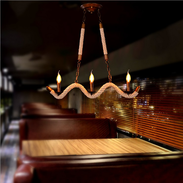 Nordic American country style retro chandelier industry Restaurant Bar Hotel Club personality minimalist twisted hemp rope lamp vintage pencil case simple large capacity school case pencil bag stationery school supplies student favors high quality hot sale