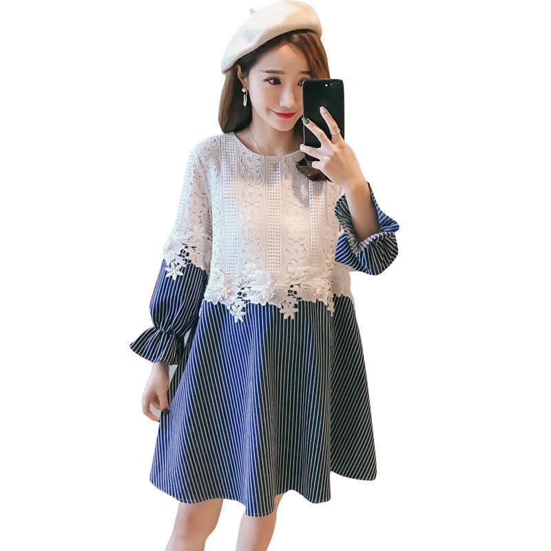32812ff4f608 Одежда для беременных 2018 Весна и осень Повседневная Новая мода кружева  шить ...