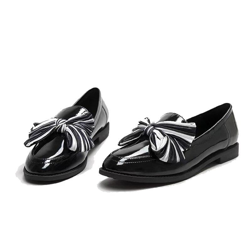 Compensées Mujer rose En 2019 Noir Mocasines Réel De Pour Semelles Arc Mocassins Newet Cuir À Ugi Plates Noir Véritable Printemps Femmes Chaussures Les xqw6BRvY