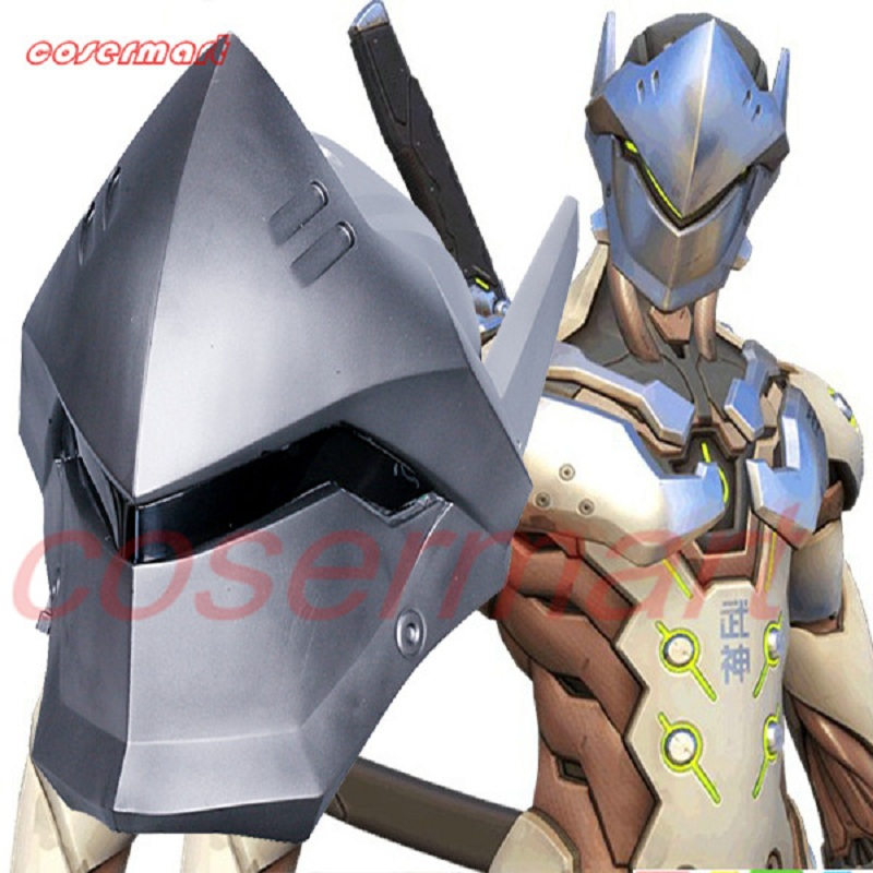 Game OW Over Watch Genji Overhead Helmet Cosplay Mask PVC Helmet Halloween Carnival Party Prop (12)_