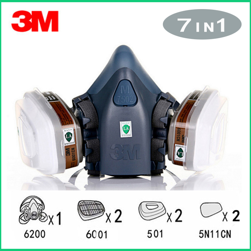 7in1 <font><b>3M</b></font> 7502 Gas mask Chemical Respirator Protective Mask Industrial Paint Spray Anti Organic Vapor Dust Powder Mask <font><b>6001</b></font> image