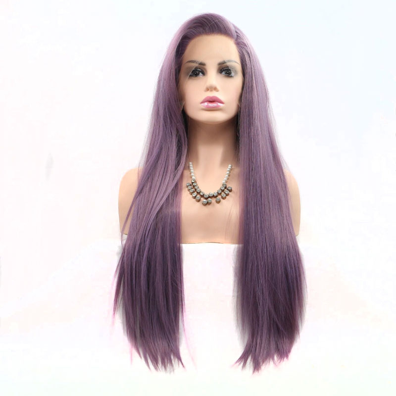 Bombshell Mix Purple Long Straight Hand Tied Synthetic Lace Front Wig Glueless Heat Resistant Fiber Hair
