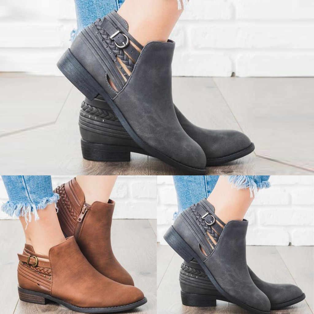 Giày bốt nữ mùa đông cổ chân dẹt Giày bốt nữ da lộn thu đông La Mã Giày Bốt Martin Thu Đông Giày lớn Cổ Điển Size boot7 #3.5