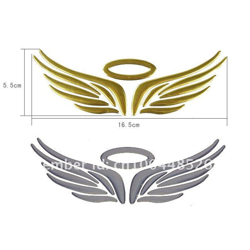10 Pieces Lot Wholesale 3d Angel Wing Car Badges Stickers Gold