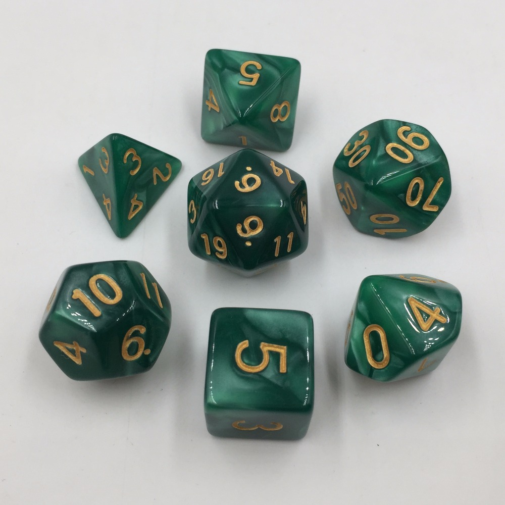 Rollooo <font><b>Dice</b></font> Pearl <font><b>Green</b></font> with Golden Numbers RPG <font><b>Dice</b></font> 7 Pieces D4 <font><b>D6</b></font> D8 D10 D% D12 D20 image