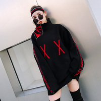 2018 New Spring Women Fashion Zipper Patchwork Batwing Sleeve Sweater Pullovers Turtleneck Knitting Sweaters