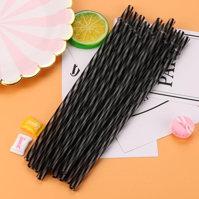Reusable Hard Plastic Striped Drinking Straws