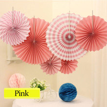 Free shipping 6pcs/Set Mixed Size 6 Colors Available Paper Fans Hanging Paper Fan Set for Wedding Birthday Party Decoration