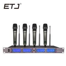 ETJ Marca Profissional UHF Microfone Sem Fio 4 Transmissor Handheld Stage Desempenho UR2000