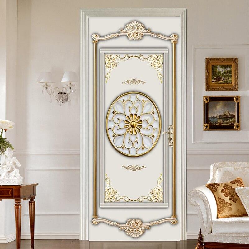 Photo Wallpaper 3D Stereo Gold Gypsum Pattern Murals Living Room Bedroom Luxury Door Sticker PVC Self-Adhesive Waterproof Decor