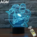 Marvel iron man 3d night lights novelty 3d de spiderman mesa táctil lámpara de 7 Luces de Color RGB LED 3D Para Niños Nocturna Centellante Decration