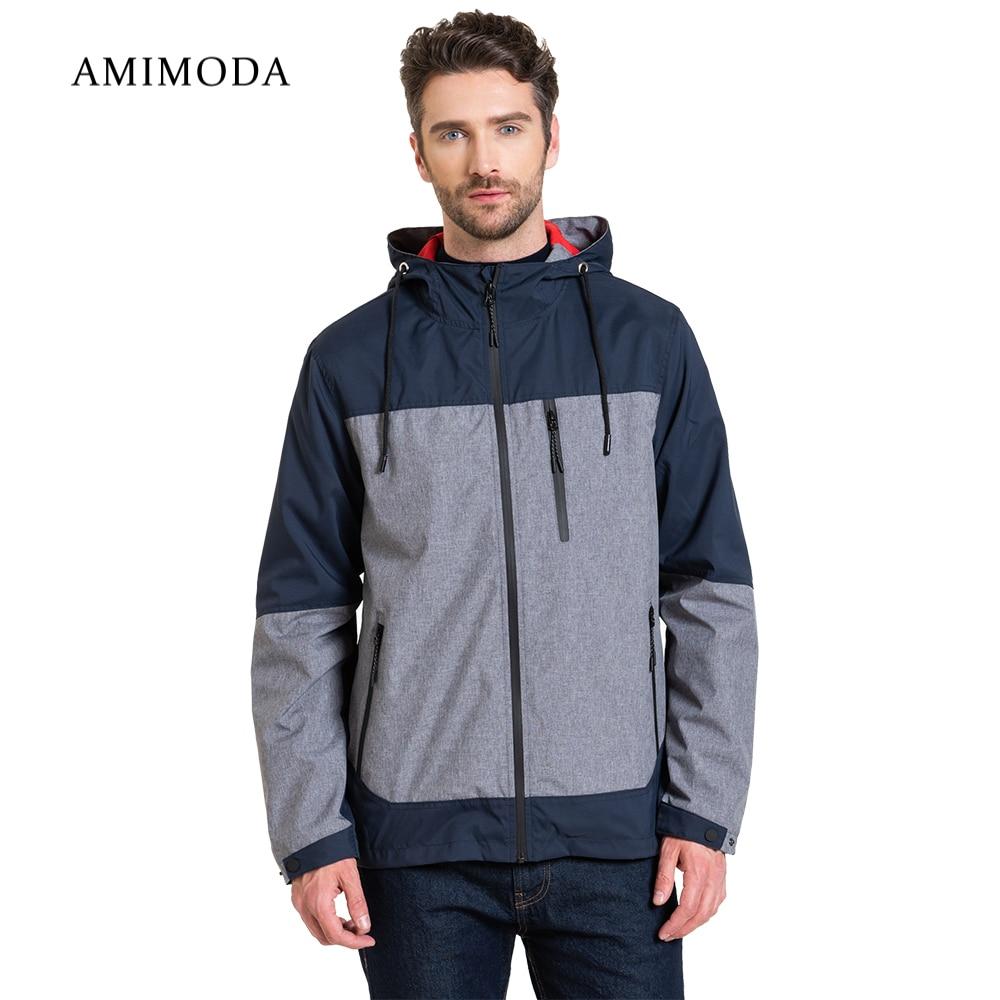 Jackets Amimoda 10023-0208 Men\'s Clothing windbreakers for men  cloak jacket coat parkas hooded self tie waist solid hooded coat