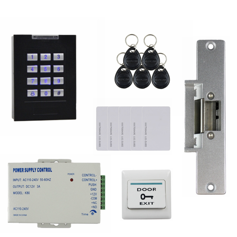 DIYSECUR 125KHz RFID Reader Blue Backlight Keypad Door Access Control Security System Kit + Electric Strike Lock KS160 diysecur magnetic lock door lock 125khz rfid password keypad access control system security kit for home office