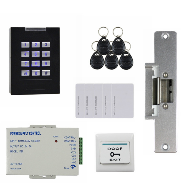 DIYSECUR 125KHz RFID Reader Blue Backlight Keypad Door Access Control Security System Kit + Electric Strike Lock KS160