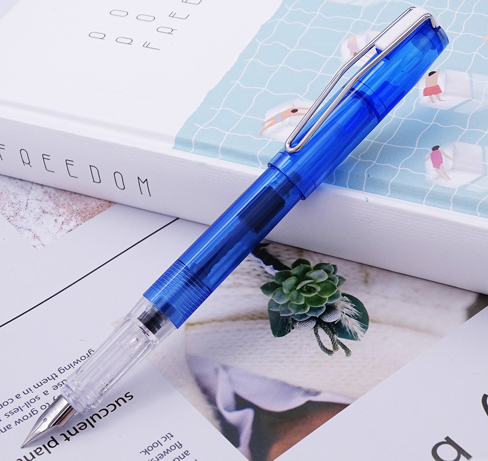 Upgraded Transparent Wingsung 3010 Fountain Pen E F 0 38 0 5mm Ink Pen Wing Sung Silver Clip 4 Colors Optional for Office School in Fountain Pens from Office School Supplies