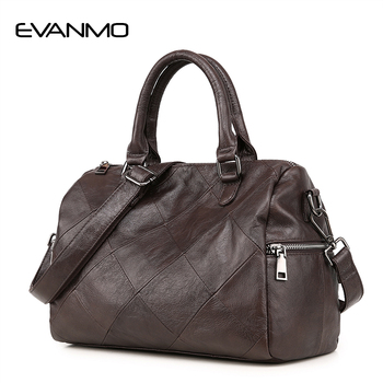 Высококачественная настоящая кожанные женские сумка Boston, Высококачественная дизайнерская Роскошная брендовая сумка на плечо Boston, Сумочка ... >> EVANMO Official Store