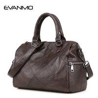 Top Grade Real Cow Leather Ladies Handbag Boston Bag High Quality Designer Luxury Brand Boston Shoulder