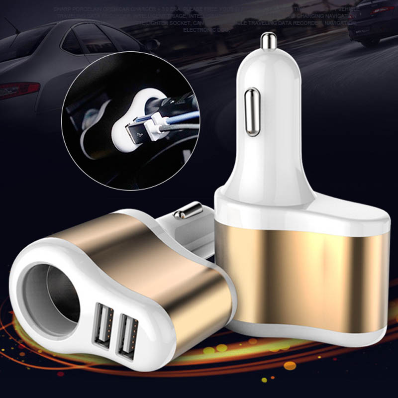 12-24V 3.1A Dual USB Fast Car Charger Multiple Color Cigarette Lighter Socket Adapter Mobile Phone Charger for Normal Usb Phone