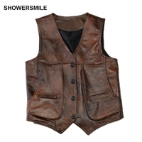 SHOWERSMILE Brown Real Leather Vests Men Cow Leather Waistcoats Luxury Brand Thick Genuine Leather Jacket Sleeveless