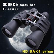 SCOKC 10-30X50 power zoom Binoculars for hunting professional monocular telescope BAK4 Porro Prism Low Night vision