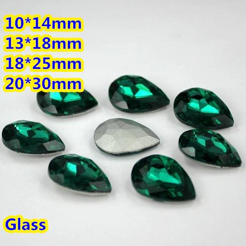 Esmeralda Pêra Lágrima de Cristal Extravagante Stone Point Voltar Vidro Pedra Para A Jóia DIY Accessory.10 * 14mm 13*18mm 18*25mm 20*30mm