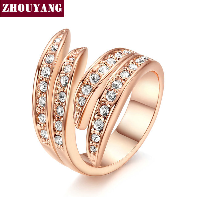 ZHOUYANG Ring For Women Angel's Wing Austrian Crystal Rose Gold Color Fashion Je