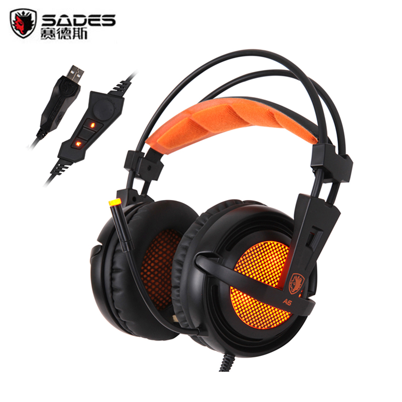 ФОТО Best Gaming Headset Sades A6 7.1 Surround Sound Stereo Game Headphone with Microphone / Breathing LED Lights for PC Gamer