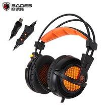 A6 gaming headset sades геймер шлем 7.1 объемный звук стерео игры наушники с микрофоном дыхание светодиодные фонари для pc gamer