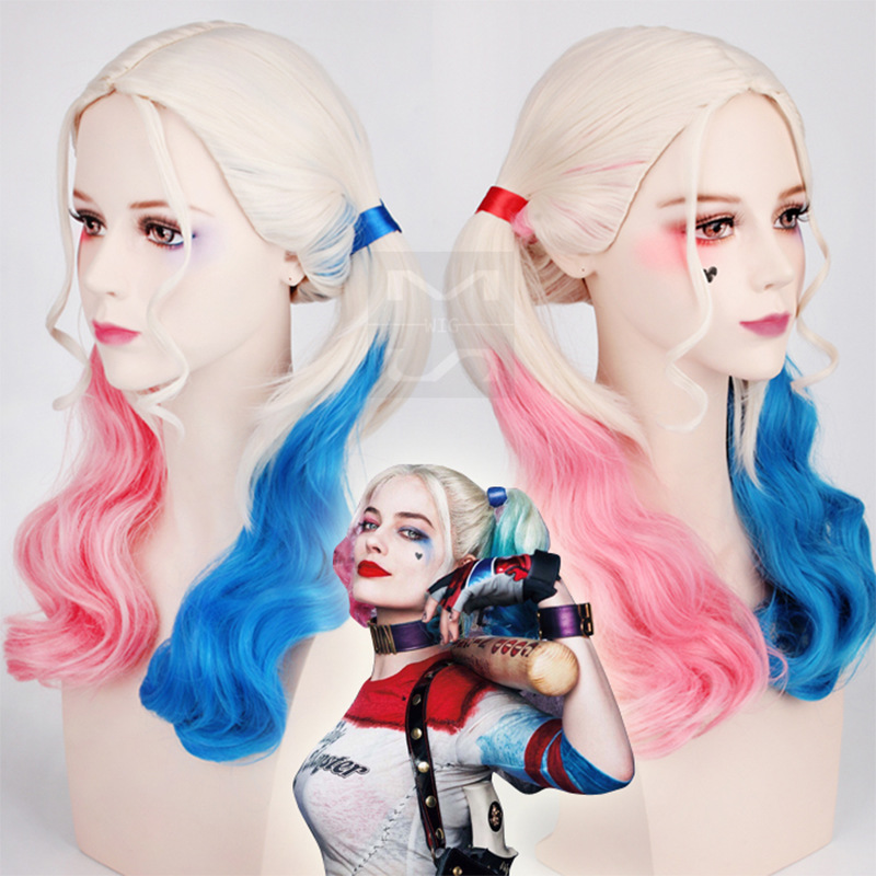 New HI-Q Patchwork Harley Quinn Cosplay Masquerade Costume Party High Temperature Fiber Synthetic Hair Women Girl Wig Hairpieces