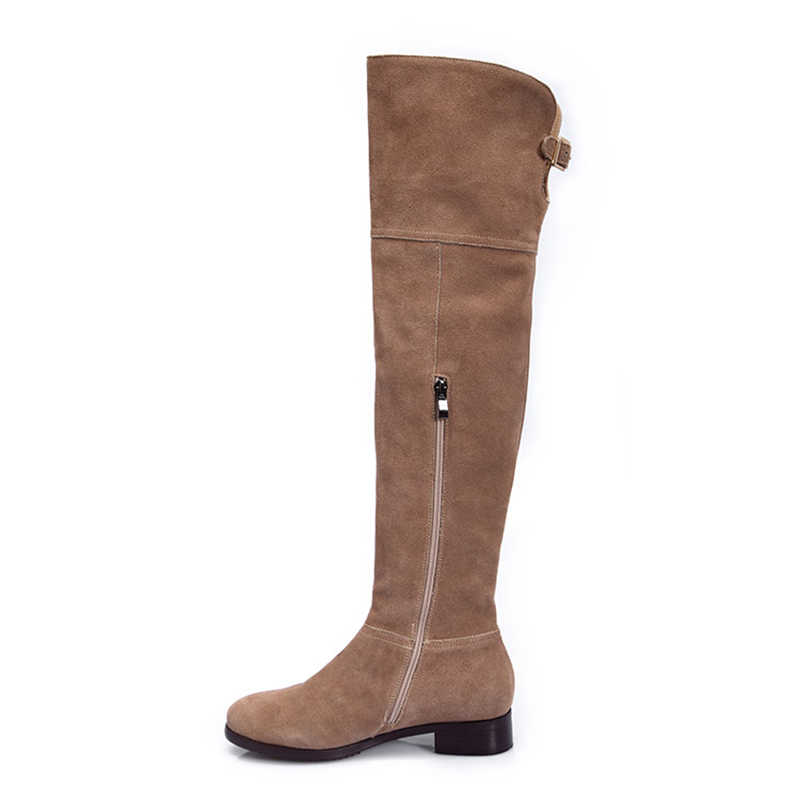 Skóra nubukowa zakolanówki buty damskie pasek z klamrą stylowe markowe kozaki damskie ręcznie robione na obcasie zimowe zamszowe buty damskie