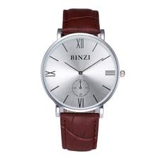 Super slim quartz watch reloj hombre  fashion leather Nylon watch Brand BINZI factory prices men watches 2016 new style gift