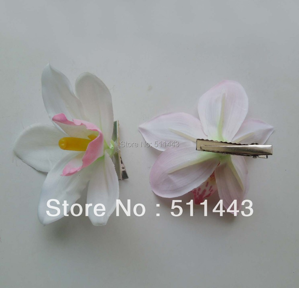 Free Shipping 30pcs 11cm Handmade Fabric Silk Orchid Flower Hair