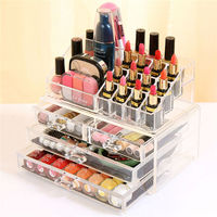 1pc Acrylic 3 Layer 4 Drawer Makeup Organizer Storage Box For Cosmetic Jewelry Display Rangement Maquill Color Clear moa0003