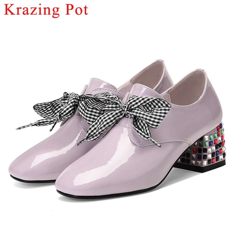 2019 European style large size natural leather colorful crystals med heels riband bowtie lace up clubwear