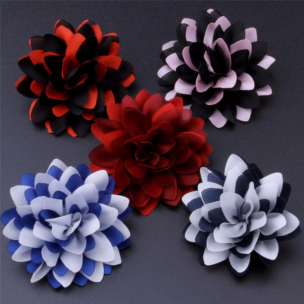 Mixed 5 Color Red Blue Black Pink Black Lapel Wire Flowers Brooch