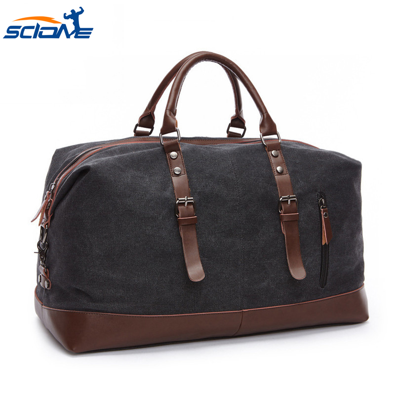 Men Gym Bags For Training Large Capacity Luggage Handbag Outdoor Travel Camping Scione Canvas Leather Men