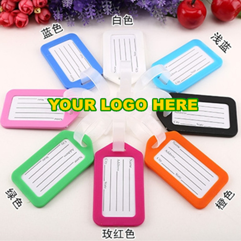 Your Logo Customized Luggage Tag Rubber baggage tag 16 Colors Business Advertising Gifts Custom Travel Luggage Label