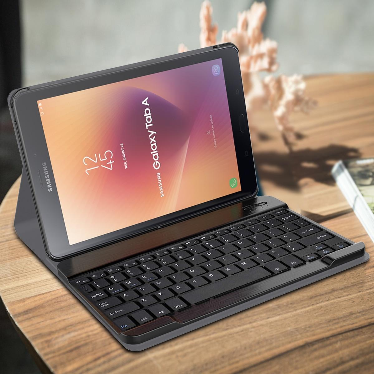USA Bluetooth clavier pour Samsung Tab A2 10.5 T595 T590 séparable tablette rétro-éclairé clavier étui en cuir conception de rayure Unique