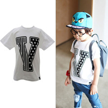 Summer 2-7Y Kids Children Boy Round Neck Short Sleeve Tee Pullover T-shirt Shirt Tops