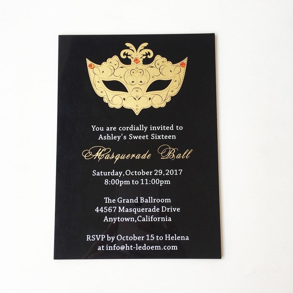 Us 320 0 Customized 5x7inch Black Acrylic Birthday Invitation Card Sweet Six Masquerade Ball 100pcs Per Lot In Cards