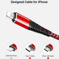 cell phone Type C usb cable for lightning cable Fast Charging Cable iPhone Charger Cord Usb Data Cable   Nylon Braided Cell-Phone Charger (2)
