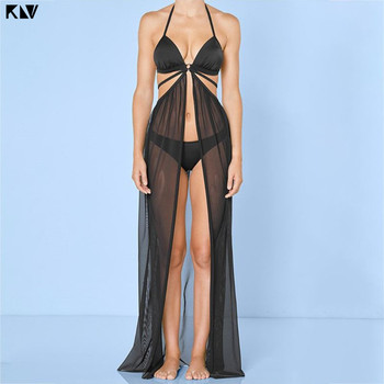 KLV Women Summer Bandage Mesh Sheer  Maxi Beach Skirt Solid Color Open Front Bikini Swimsuit Cover Up Split Wrapped Sarong
