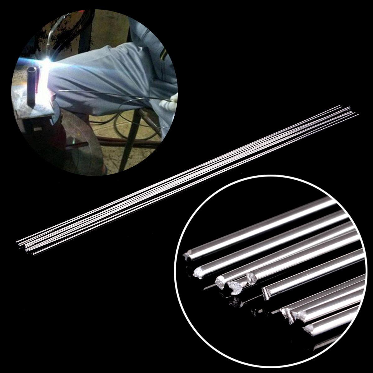 10pcs Metal Aluminum Welding Rod Low Temperature Magnesium Soldering Brazing Stick Rods 1.6mmx45cm Silver 1