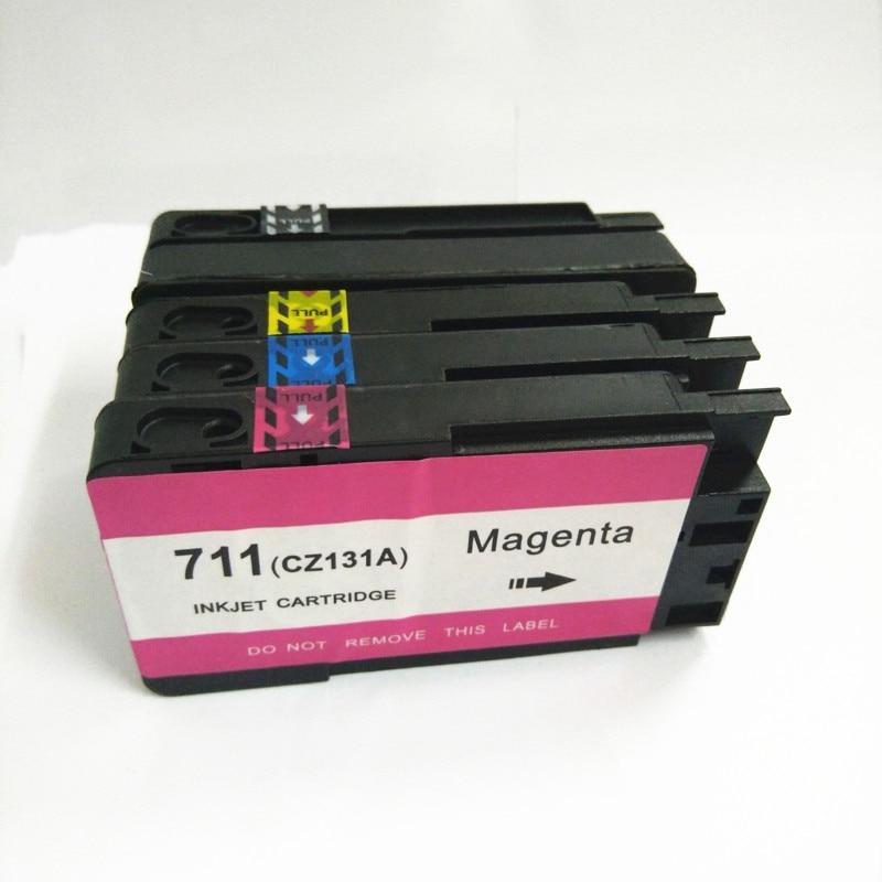 HP 711 XL 용 Vilaxh 711 호환 잉크 카트리지 교체 칩 cz133a 프린터가있는 Designjet T120 T520 프린터 용 711xl