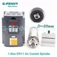 New Product! 220V 1.5KW ER11 CNC Air Cooled Spindle Motor 80mm Air Cooling 4Bearings CNC& 220v 1.5kw VFD inverter & 80mm bracket