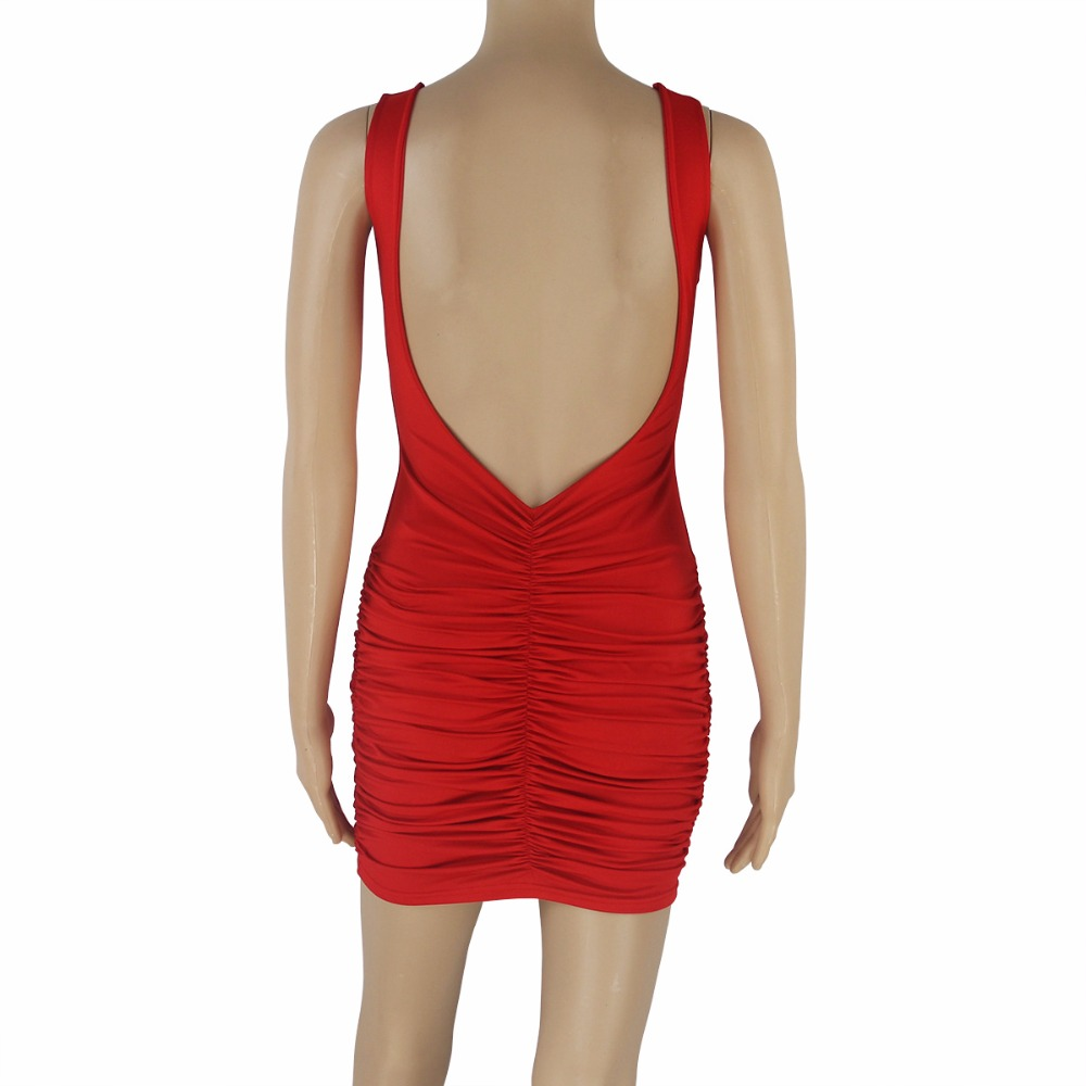 bcd3fdeb722 Solid Red White Sexy Sleeveless Folds Dress Women s Deep V Backless Slim  Hip Mini Dress Nightclub Party Skinny Short Dress-in Dresses from Women s  Clothing ...