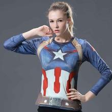 2017 Women T-shirt Bodys Armour Marvel costume superman/batman T Shirt Long Sleeve Girl Fitness Tights Compression tshirts