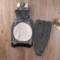 Sistema de la Ropa de Los Bebés Bbay Cabritos de Las Muchachas DEL OÍDO DEL ZORRO Ropa Hoody Pullover Camiseta Top + Pantalones de Las Polainas 2 unids Outfit Set 1-6 T