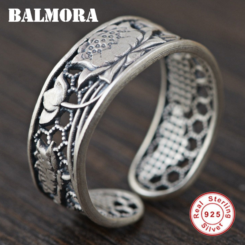 BALMORA 925 Sterling Silver Lotus Flower Open Rings for Women Mother Gift Hollow Ring Thai Silver Fashion Jewelry Gift SY21866